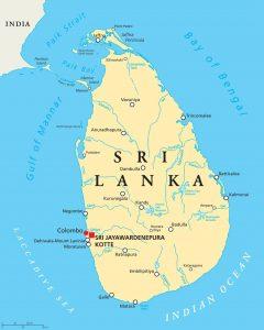 Kaart van Sri Lanka