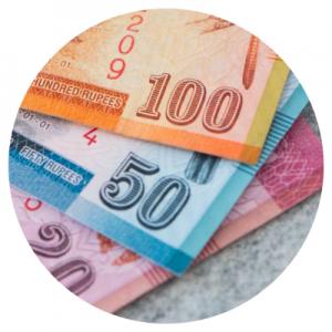 Het geld op Sri Lanka heeft als valuta de Sri Lankaanse roepie